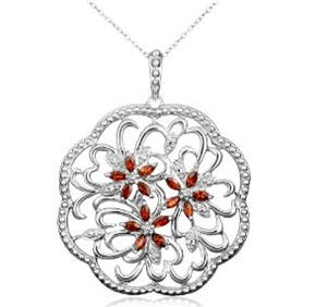 Send Garnet Flowers Pendant w/ Diamond Accents to USA