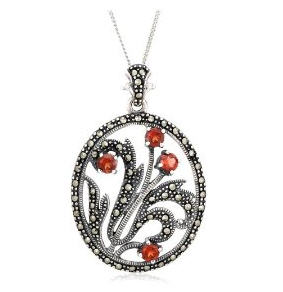 Send Sterling Silver Marcasite & Garnet Pendant to USA