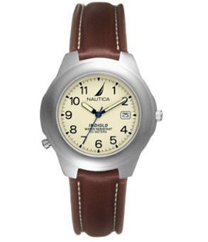 Send Nautica Men's Leather Indiglo Watch to USA