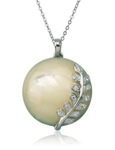 Send Mother of Pearl Platinum Overlay & Cubic Zirconia Pendant to USA